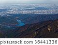 겨울 蛭ヶ岳에서 볼 宮ヶ 瀬湖과 관동 평야의 전망 36441336