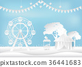 Amusement park with ferris wheel circus paper art 36441683