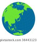 일본을 중심으로 한 구체 세계지도 일러스트 (플랫) 36443123