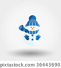 Snowman in a knitted hat, scarf and mittens. Icon 36443690