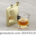Hip flask and a glass of whiskey 36445019