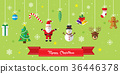 Merry Christmas icon set background. 36446378