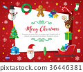 Merry Christmas icon set background. 36446381