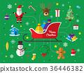 Merry Christmas icon set background. 36446382