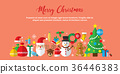 Merry Christmas icon set background. 36446383