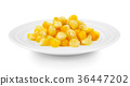 corn in a plate on white background 36447202