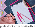 Pink accessories girl, notebook with pens 36447463