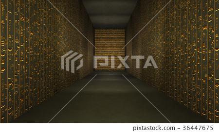 Golden Egyptian Tunnel Hieroglyphs Corridor 36447675