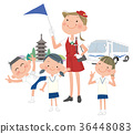 Elementary school students and guide women who go on school trips. 36448083