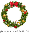 Vector Christmas Wreath with Garland 36448108