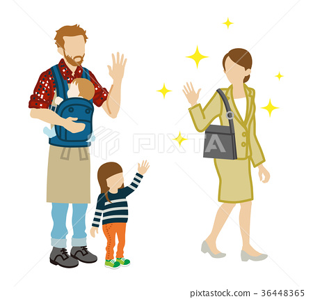 Father and child looking back with mother of office worker 36448365