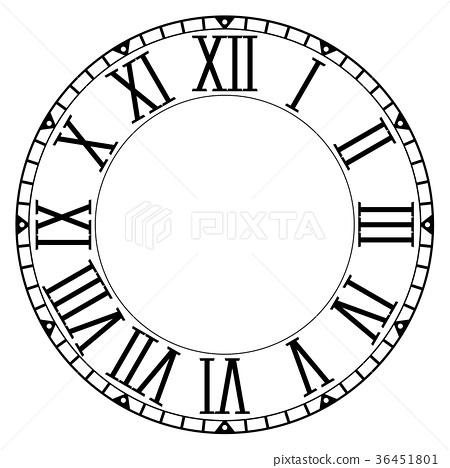 Clock face. Blank clock with roman numerals on 36451801
