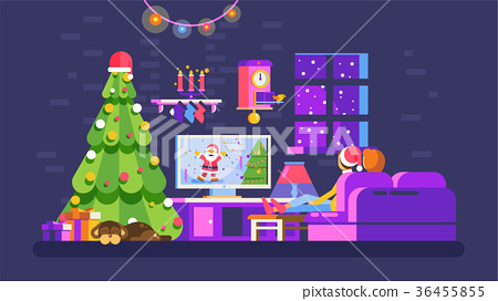 Christmas evening home interior, lovers sit on 36455855