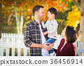 Outdoor Portrait of Mixed Race Chinese and Caucasian Parents and 36456914