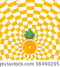 Orange slices on orange and white pattern color 36460205