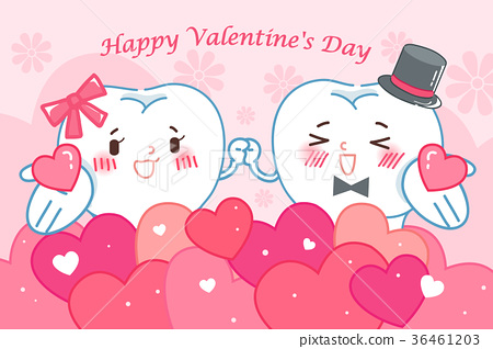 teeth with happy valentine day 36461203