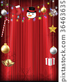 christmas decorative object hang on red curtain 36463635