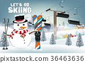 let's go skiing with snowman and ski equipment 36463636