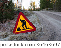 Warning for road work sign 36463697