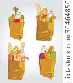 Paper bag with food bread and fruits, vegetable ve 36464856