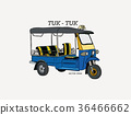 Tuk Tuk in Thailand, hand draw sketch vector. 36466662