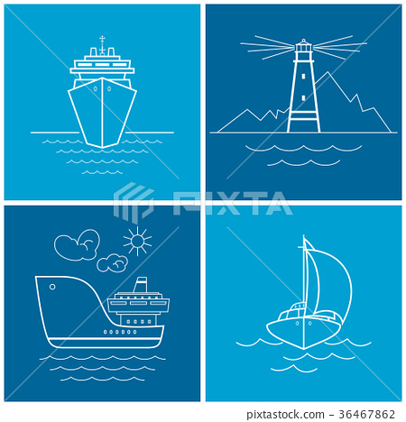 Set of maritime icons, vector illustration 36467862