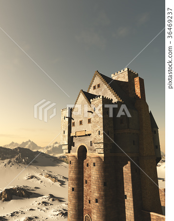 Medieval Tower House Castle in Snowy Mountains 36469237