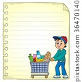 Notepad page with man shopping 36470140
