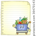 Notepad page with shopping cart 36470143