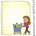 Notepad page with woman shopping 36470147