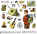 camping equipment set, outdoor adventure, hiking 36474721