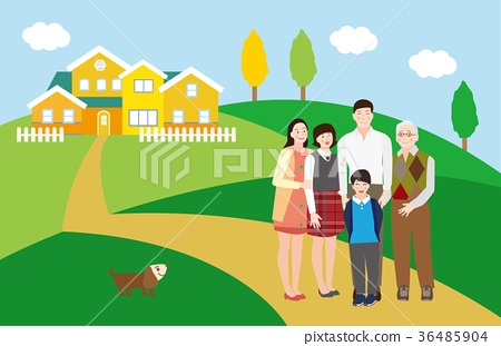 A Happy Family Portrait(Grandfather,Father,Mother,Daughter,Son and a Dog),in front of the house - vector 36485904