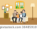 A Happy Family Portrait(Grandfather,Grandmother,Father,Mother,Daughter and Son) - vector 36485910