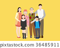 A Happy Family Portrait(Grandfather,Grandmother and Granddaughter) - vector 36485911