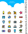 Set of Icon - Symbolizing summer and autumn 002 36486201
