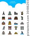 Set of Icon - Symbolizing summer and autumn 002 36486203