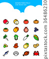 Set of Icon - Symbolizing summer and autumn 002 36486230