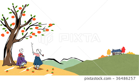Korean traditional play - kiteflying, pick persimmon etc.004 36486257