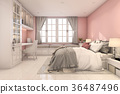 3d rendering beautiful pink vintage kid bedroom 36487496