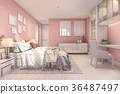 3d rendering beautiful pink vintage kid bedroom 36487497