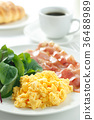 breakfast, bacon, scrambled eggs 36488989