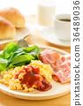 breakfast, bacon, scrambled eggs 36489036