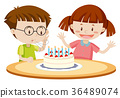 Kids blowing cake on birthday 36489074