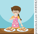 Girl and two plates of sandwiches 36489082