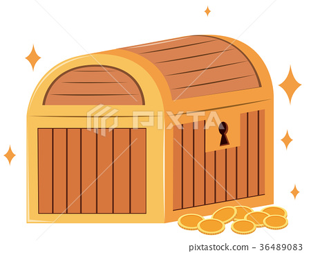 Wooden chest and gold coins 36489083