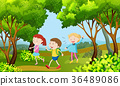Three kids walking in the woods 36489086