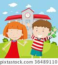 School scene with two happy kids 36489110