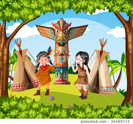 Native american indians at the tribe 36489115