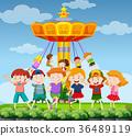 Park scene with happy children 36489119