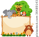 Wooden frame with wild animals in garden 36489143